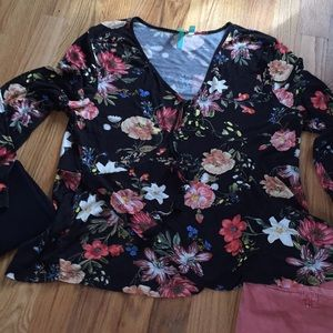 Anthropologie Floral Soft Knit Long Sleeve Top
